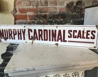 Vintage Porcelain Murphy Scales Sale Old Heavy Vintage Advertising Sign