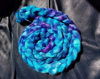 "2oz 100 % tussah silk roving hand dyed for spinning yarn fiber arts supplies ""I killed a smurf and I liked it"" Dark blue purple blend tones"