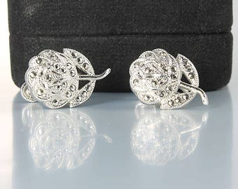 Theda Sterling Rose Earrings, Marcasite Silver Rose Earrings, Screw Back Vintage 1950s jewelry