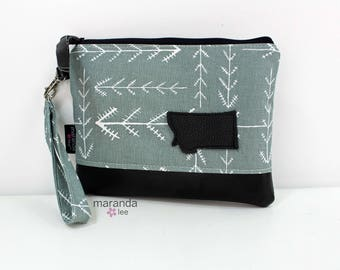Flat Clutch Large Native Grey with MT Patch PU Leather READY to SHIp
