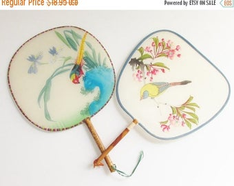 ON SALE 2 Vintage Silk Bamboo Hand Painted Bird Paddle Fans Peoples Republic