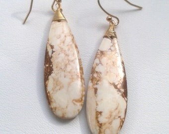 Buffalo Turquoise Long Drop Earrings - Gold Filled - Natural Gemstone - Brown and White Drop Earrings - Howlite