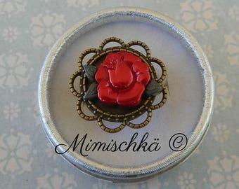 little ring adjustable red rose