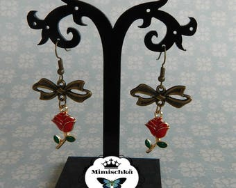 earrings red rose
