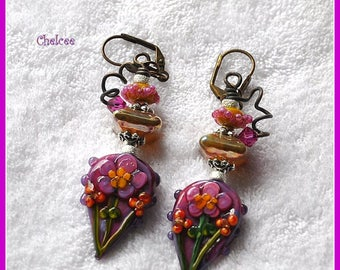Purple Pink Floral Earrings,Flower Earrings,Colorful Spring Summer Earrings,Unique Earrings,OOAK,Dangle Earrings - CHELCEE
