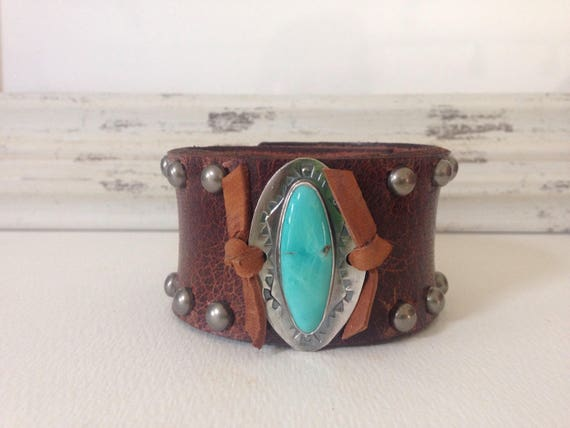 Handmade Leather Cuff, Southwestern, Blue Kingman Arizona Turquoise, Wide Brown Water Buffalo Leather Cuff, One Of A Kind