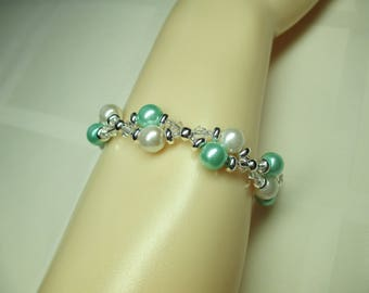 Two Strand Mint Green and White Pearl Bracelet