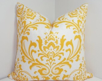 FALL is COMING SALE Corn Yellow/White Damask Pillow Cover Decorative Pillow Yellow Damask Throw Pillows 20x20