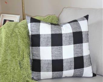 Large Buffalo Checked Black White Plaid Pillow Covers Large Checked Black Plaid Pillow Covers Choose Size
