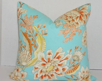 SPRING FORWARD SALE Divers Paradise Blue Orange Coral Shell Pillow Cover Decorative Pillow Throw Pillow 18x18