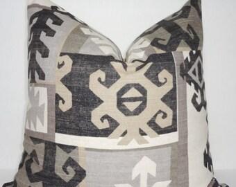 SPRING FORWARD SALE Richloom Black & Tan Geometric Pillow Cover Decorative Throw Pillow Cover Large Geometric Pattern  18x18