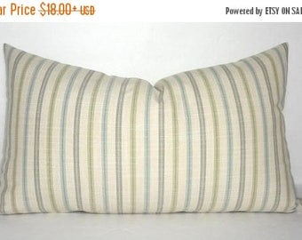 SPRING FORWARD SALE Green Blue Grey  Stripe Lumbar Pillow Cover Decorative Striped Pillow Cover Choose Size