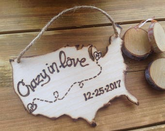 Valentine's Day Custom Wood Ornament Wedding Personalized USA with YOUR States in a Heart & Your Initials Wedding Date Newlyweds