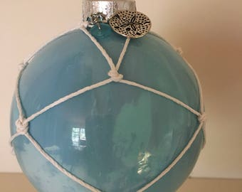 Beachy Swirl Painted Glass Ornament with Sand Dollar Charm