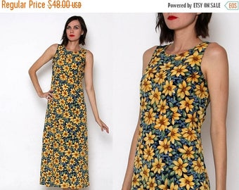 HUGE SALE Vintage 90s Sleeveless Sunflower Maxi Dress
