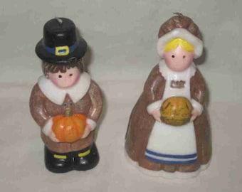 "Neat Pair 5 1/2"" Thanksgiving Figural PILGRIM Candles"