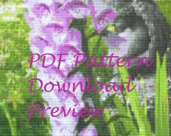 CLEARANCE SALE PDF Pattern:  Loomed Beadwork Picture/Tapestry - Foxglove Flowers, Purple, Pink, Green