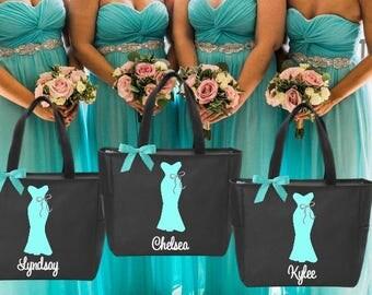 3 bridesmaid tote bags , bridesmaid gifts , tote bag , beach bag , bachelorette party gift ,wedding bag