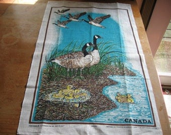 Tea Towel Souvenir of Canada with Canadian Geese Family