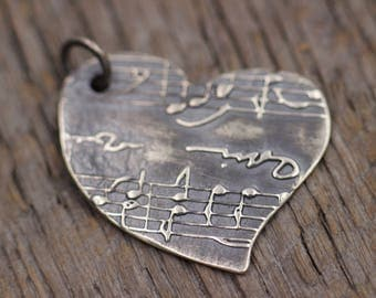 Music Heart Necklace, Delicate Heart Necklace, Music Lover Gift, Dainty Heart Necklace, Music Teacher Gift