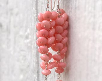 Pink Earrings - Coral Gemstone Jewelry - Sterling Silver Jewellery - Beaded - Dangle - Fashion