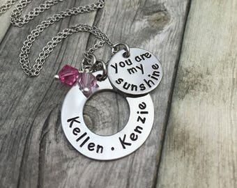 You are my sunshine, personalzied mothers necklace