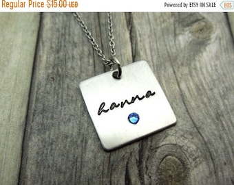 SALE Square Name necklace with birthstone crystal, personalized mothers necklace