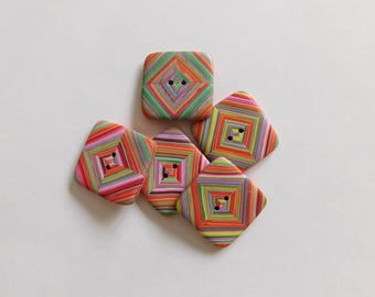 Handmade Polymer Clay Sewing Buttons, set of 5