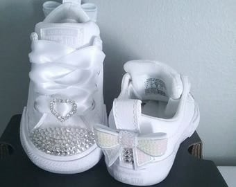 Crystal Converse Big Kids Youth Toddler Satin Laces White Bows Flower Girl Shoes