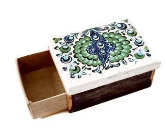 Matchbox Holder Ceramic Porcelain Hand Painted Tile Top Match Safe Peacock Greens & Blues Small Cardboard Box for Matches Side Strikers