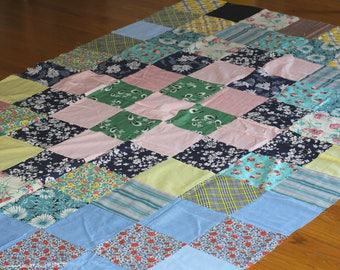 """Vintage Quilt Top Old Fabrics Patchwork Design 81"""" x 58"""" 