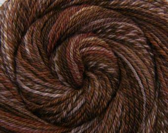 Handspun Yarn Bulky weight - BEAVER DAM - Handpainted Texel wool, Navajo plied, 140 yards, gift for knitter, rug yarn, weaving yarn