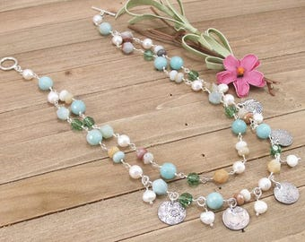 Amazonite, Freshwater Pearl, Swarovski Crystal & Sterling Silver 2 Strand Necklace w/ PMC Metal Clay Charms