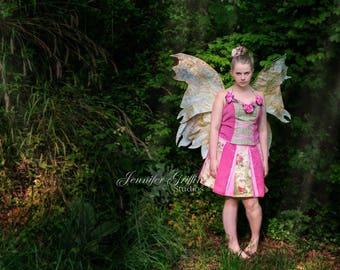 Pink Fairy Costume- Complete Fairy Costume- Fairy Wings- Fairy Dress- Teen Fairy Costume- Womens Fairy Costume- Pink Fairy- Gold Fairy Wings