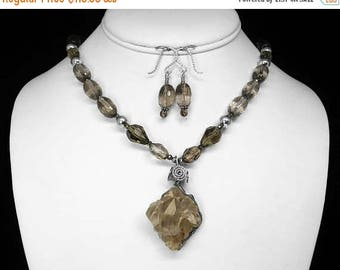 """Montana Crystal and Smoky Quartz Necklace and Earring Set in Silver, 21"""""""