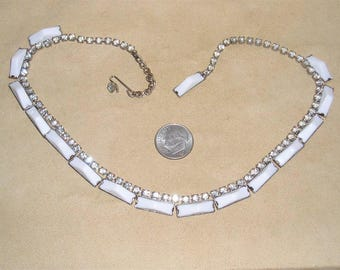Vintage Signed Kramer Of New York Choker Necklace With Rhinestones And Milk White Glass Early 1950's Jewelry 11272