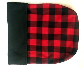 Dog or Cat Burrow Bag, Sleeping Bag, Snuggle Sack, Red & Black Buffalo Plaid Print with Black Fleece Lining