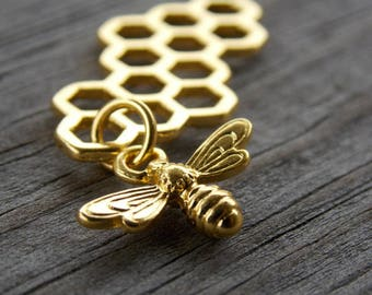 10 Gold Honeycomb Connector Charms with Gold Bee Dangle 46mm
