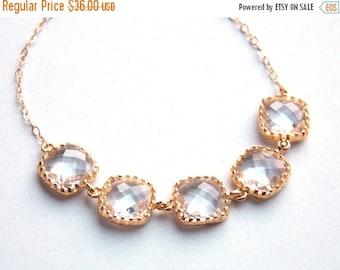 SALE Crystal Bracelet, Clear Bracelet, Glass Bracelet, Gold Bracelet, 14K Gold Filled, Wedding Jewelry, Bridesmaids Bracelet, Bridesmaid Gif