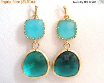 SALE Blue Earrings, MInt Blue Gold Green Earrings, Glass Earrings, Wedding, Bridesmaid Earrings, Bridal Earrings Jewelry, Bridesmaid Gifts