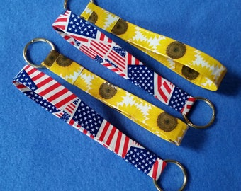 Handmade Duct Tape Keychain, sunflowers or American flags, upcycled duct tape key fob keyring keychain