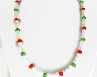 Holiday Necklace/White Glass Pearls/Red Glass Rondells/Green Glass Rondells/Necklace/Red/Green/White/Christmas Colors Necklace