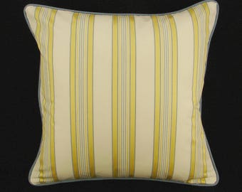 """18"""" x 18"""" Pillow Cover Yellow Blue White Stripe Welting"""