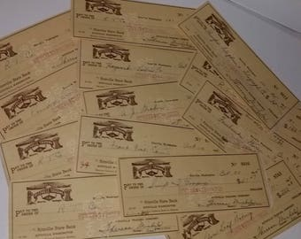 3 Vintage company checks 1940's Ritzville Trading Co tan sepia color paper ephemera Old canceled mixed media art scrap collage supplies