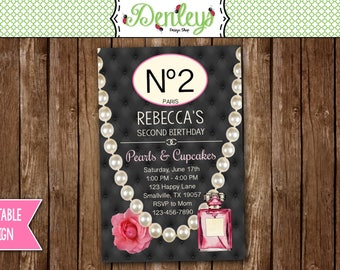 Cupcakes and Pearls Invitations, Designer Birthday Invitation, Pearls Birthday, Diva Birthday Invitation (CP02)