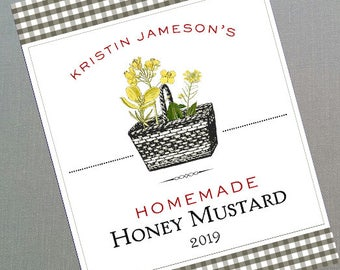 Mustard Label or Tag Label, Personalized, set of 18