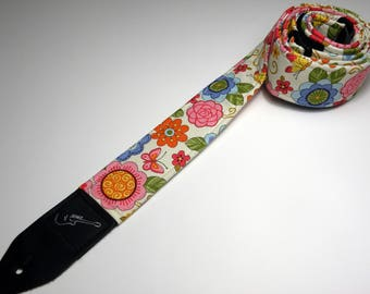 Handmade double padded floral guitar strap - Spring Flowers