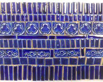 155+ Handmade Mosaic Tile Pieces Ceramic Tile Stoneware  Dark Blue Tones Glazed Craft Tile Assortment #2