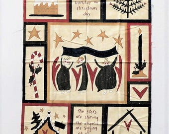 Christmas Cheater Fabric Panel, Listen and You Shall Hear, Angels Baby Jesus, Cotton Quilt , Pieces From My Heart, Sandy Gervais for Moda,