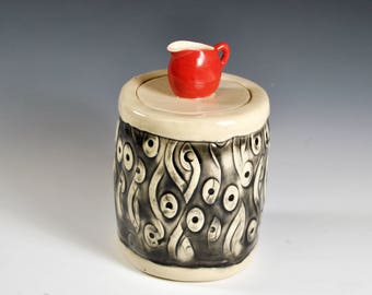 Pottery Sugar Container, Spice Jar, Teabag Storage